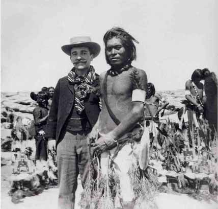 Aby Warburg (on the left) during his trip in New Mexico, 1896